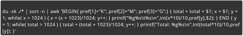 Como listar o tamanho de todos os arquivos e subdiretórios do diretório atual